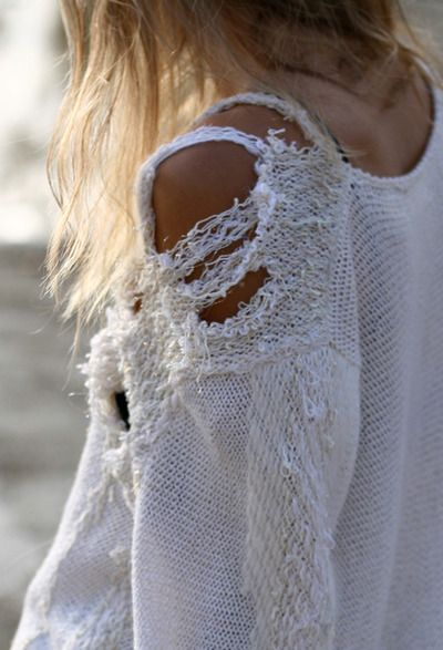 : Beaches, Clothing Altered, Grunge, White Sweaters, Diy Fashion, Shabby Chic, Summer Style, Sweaters Dresses, Knits Sweaters