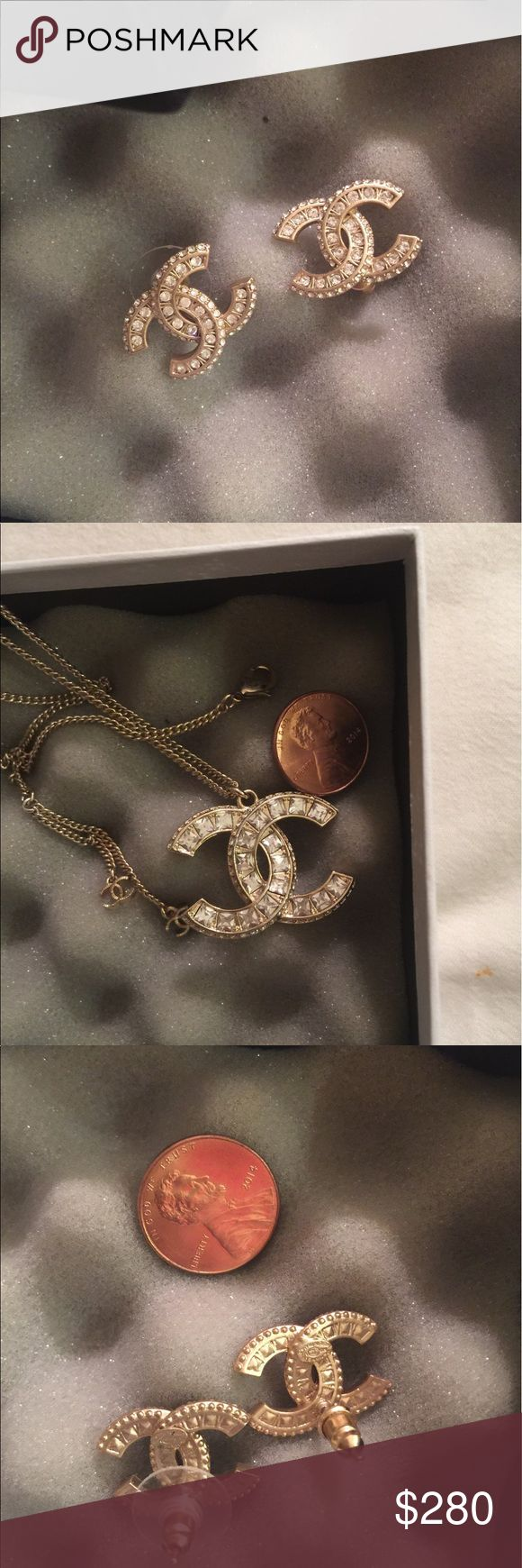 Chanel Necklace and earring bundle Gold toned. Beautiful set that can bring glamour to any outfit. Its the highest quality that is available. Please se the price before asking the obvious. Comes in a box. CHANEL Jewelry Necklaces