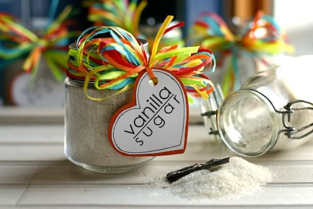 """DIY Vanilla Bean Sugar - On the back of the tag it reads, """"Stir this vanilla bean sugar into your favorite hot drinks for a kiss of vanilla flavor.  Sprinkle it in cookies, cake and custard recipes, or lick it straight from a spoon for dessert."""""""