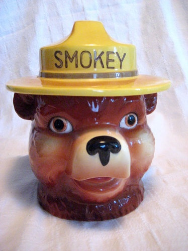 Smokey the Bear Cookie Jar - Vintage, Antique, Prevent Forest Fires, Norcrest
