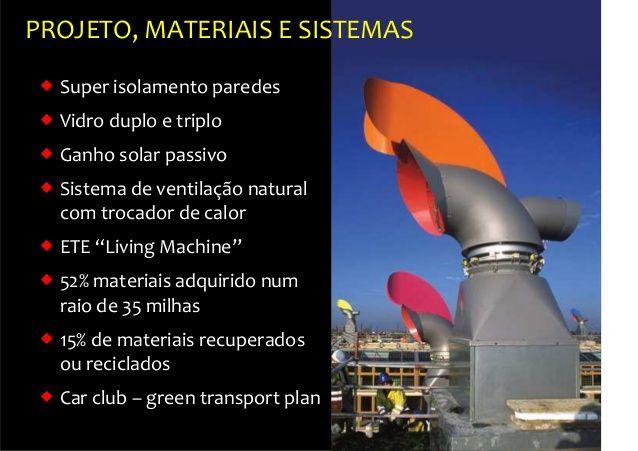 PROJETO, MATERIAIS E SISTEMAS  Super isolamento paredes  Vidro duplo e triplo  Ganho solar passivo  Sistema de ventila...