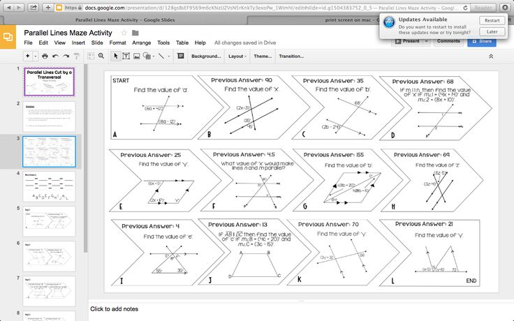 Mrs. Newell's Math: Free Google Parallel Lines Cut by a Transversal Digital Activity