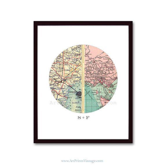 Custom Map Art  Personalized Engagement Gift by ArtPrintsVintage, $84.00