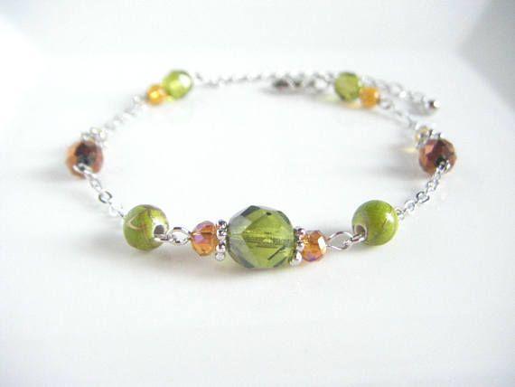 Olive green bracelet dainty beads bracelet olive green