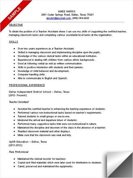 Teacher Assistant Resume Sample Resume Examples No Experience