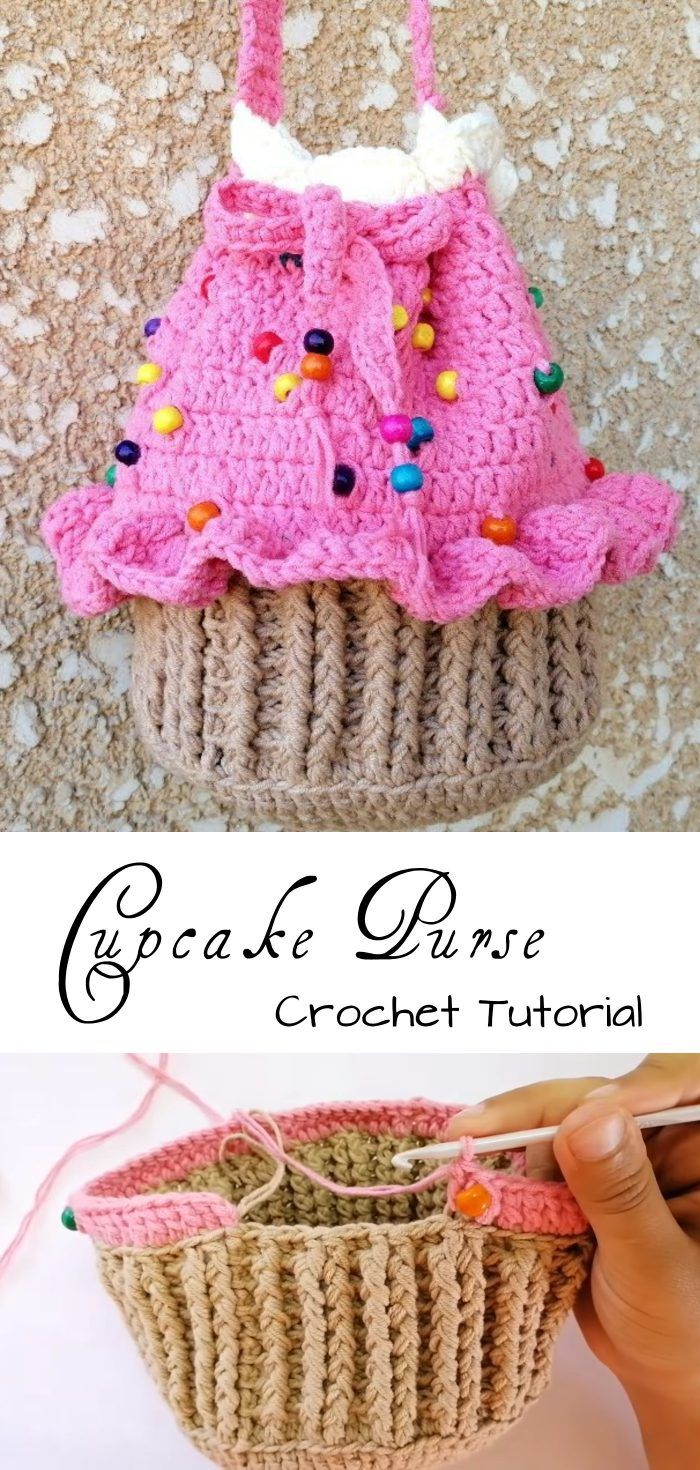 Crochet Cupcake Purse / Mini Bag