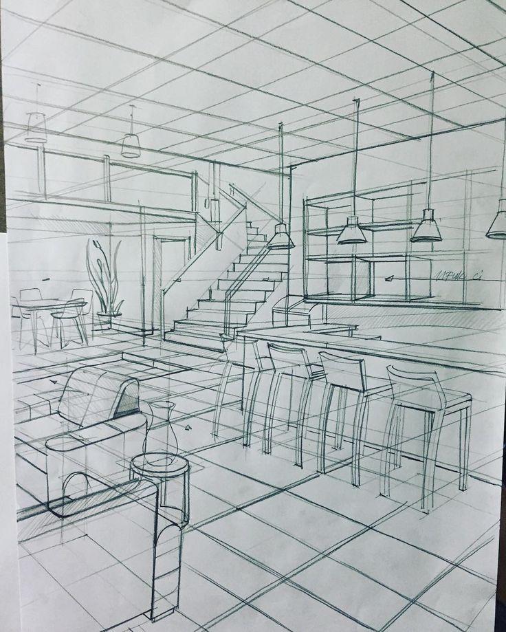 İç mekan perspektif oda çizimi.