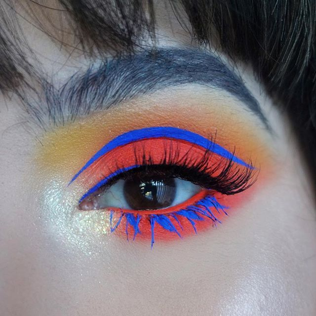 Avant-garde makeup / creative makeup / bold / eye makeup / orange eyeshadow / blue / colourful /artistic makeup/