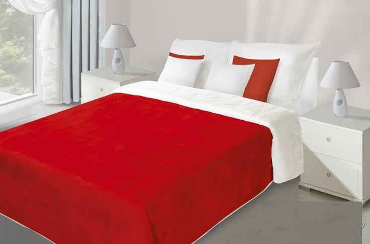 Červeno bílý přehoz na postel oboustranné s prošíváním