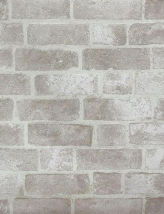 Faux Distressed Gray Brick And Mortar Wall Off White Stone Bright Pale Grout Bricks Text