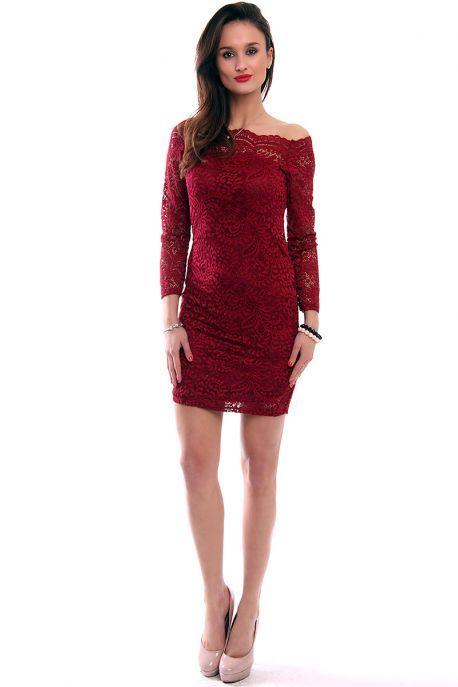 Sukienka koronkowa midi bordowa od CosmosModa // kup teraz! // moda damska // zakupy online