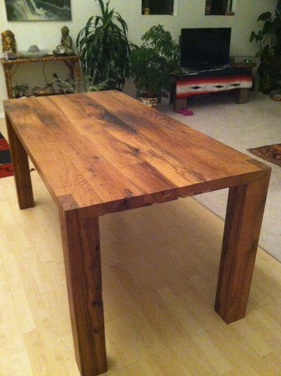 1 250 Reclaimed Oak Dining Table Wood Base Free Shipping By Guicewoodworks The Legs Are 4x4s Hand Cut And Chiseled T