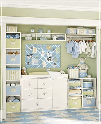 love this idea. Remove the sliding closet doors and putting a dresser/changing table in the closet to save space. -  My best friend Vanessa did this in her son's nursery!