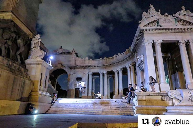 Hanging out with the @skateboardsforhope crew filming epic staircase at Jose Gómez Monument in Havana. It's always majestic when everyone gets out their smart phones to light up the staircase. Thanks to @evablue for epic photo and hanging out with me in Cuba. #freshhope #godmotherapproved #havana #stairs #skateboarding #cuba #cuba #skateboarders #skateboardsforhope #nightvision