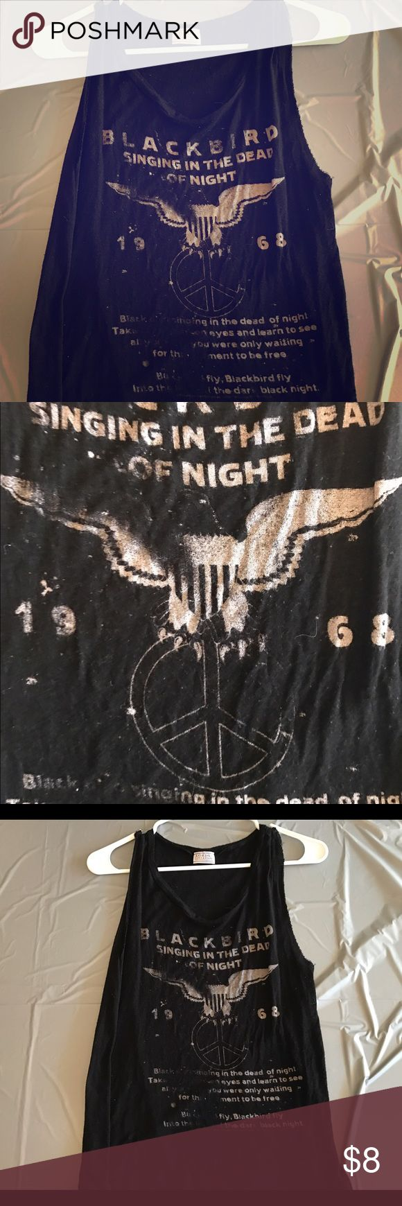 The Beatles Blackbird Song Lyric, Tank Top! The Beatles, BlackBird Song Lyrics on front of Shirt. Brand is Lords of Liverpool. Black with light tan lettering. Loose style fit for Tank. Great Condition. Pet Free Smoke Free Household. Length 22in. Strap Width 4in. Scoop Length 7in. Lords of Liverpool  Tops Tank Tops
