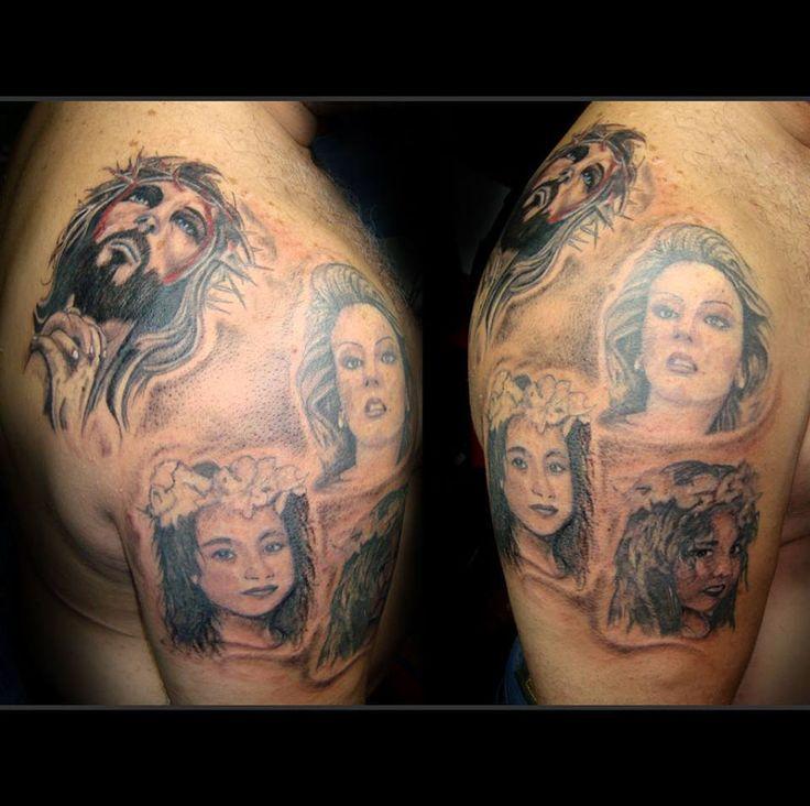 family and jesus tattoo shoulder portrait tattoos message from the skin pinterest jesus. Black Bedroom Furniture Sets. Home Design Ideas