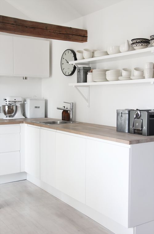 elisabeth heathland- dream kitchen- clean white cupboards, wooden benchtops and whitewashed floors