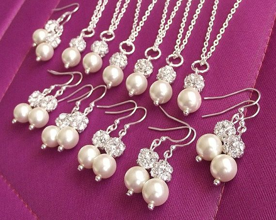Bridesmaid Jewelry, bridesmaid gift, Pearl wedding jewelry sets, Bridesmaid necklace and earrings, Pearl bridesmaid jewelry Set of 8 on Etsy, $156.00