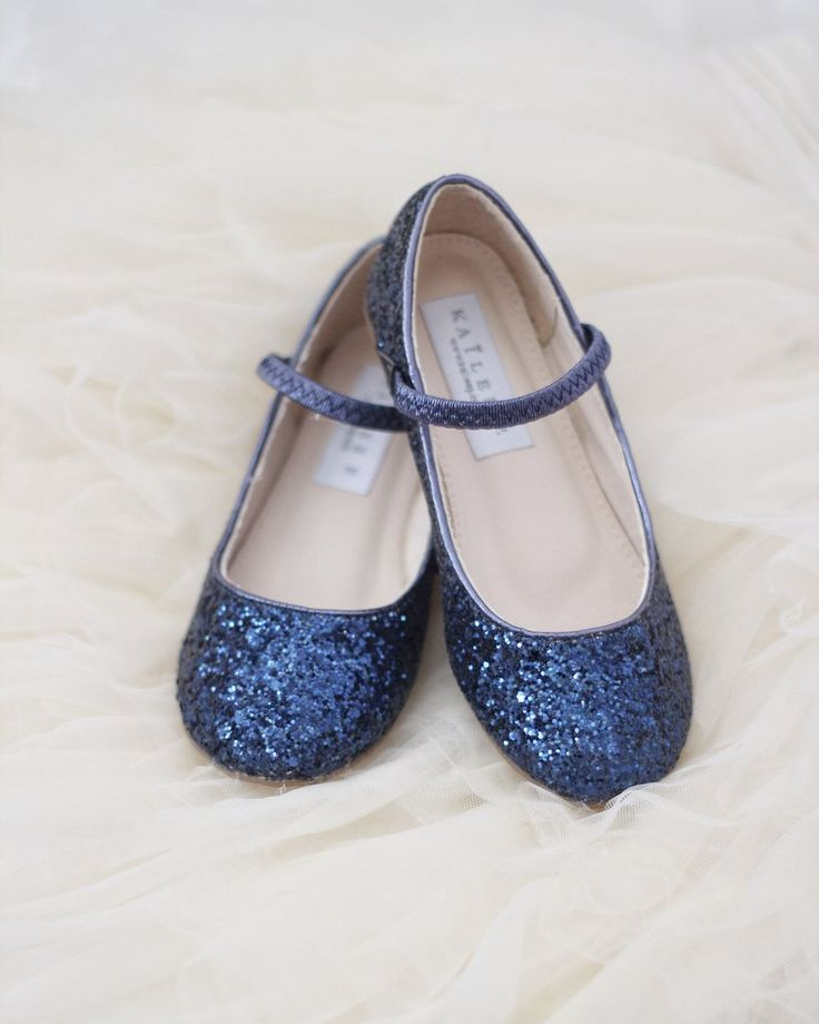 Girls Shoes NAVY Rock Glitter Maryjane Ballet Flats, Flower Girl Shoes, Holiday Shoes, Party Shoes