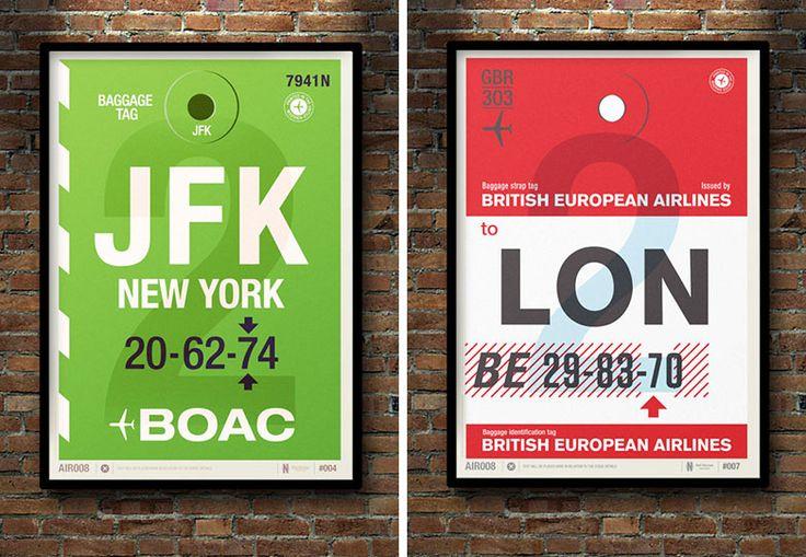 JFK/LON vintage bag tag art by Neil Stevens