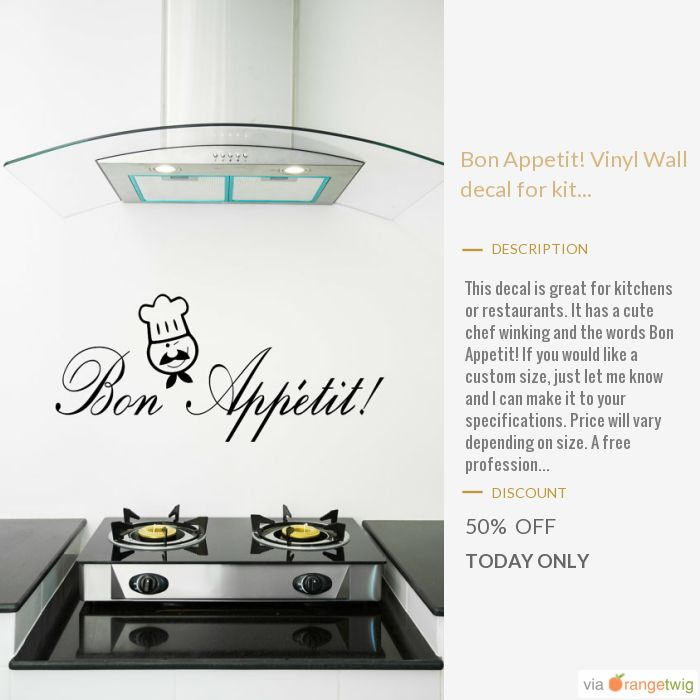 Today Only! 50% OFF this item.  Follow us on Pinterest to be the first to see our exciting Daily Deals. Today's Product: Bon Appetit! Vinyl Wall decal for kitchen or restaurant with a chef winking and fancy lettering. Kitchen chef wall art/ restaurant wall art. Buy now: https://www.etsy.com/listing/481494729?utm_source=Pinterest&utm_medium=Orangetwig_Marketing&utm_campaign=Saturday   #etsy #etsyseller #etsyshop #etsylove #etsyfinds #etsygifts #musthave #loveit #instacool #shop #shopping…