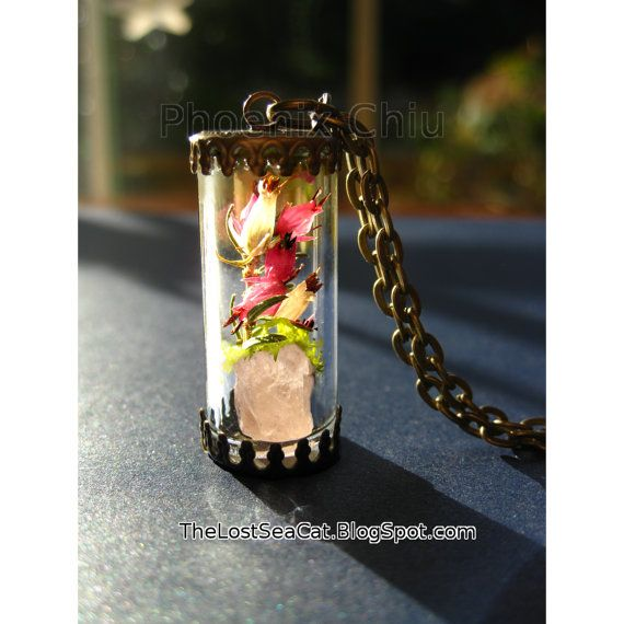 Rose Quartz pendant Real Heather Necklace moss by phoenixchiu