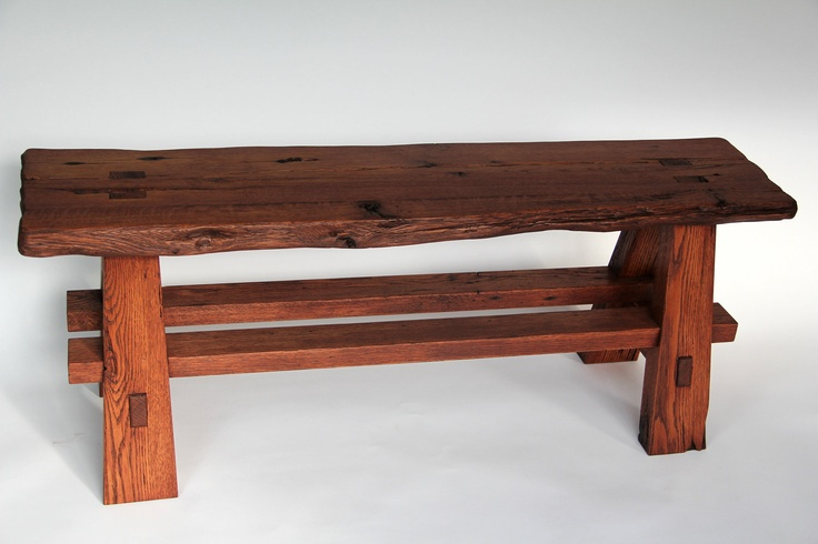 Rustic Live Edge Reclaimed Barn Wood Sitting Bench Barn