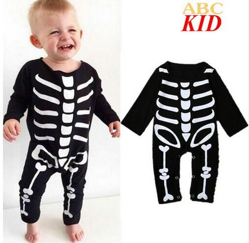 $ 7.89 Black Long Sleeve Baby Clothes Pattern Skeleton Jumpsuit Onesie Baby Infants Romper Toddler Sleepwear Rompers