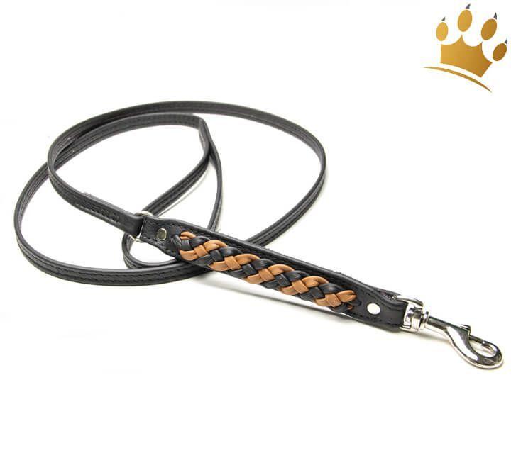 Hundeleine Aus Leder Empire Double Schwarz Cognac Hundeleine Leder Und Hundegeschirr Leder
