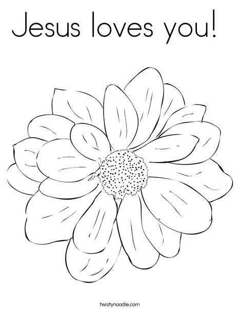 Jesus loves you coloring page twisty noodle flower, jesus loves you coloring page