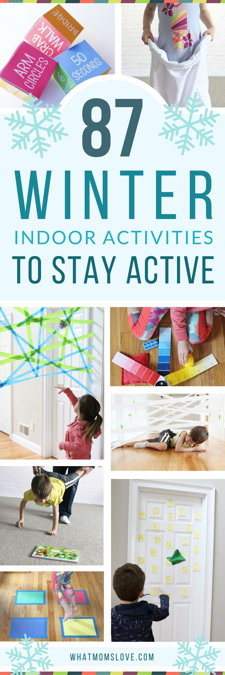 The Best Active Indoor Activities for Kids - perfect for Winter snow days! Such fun gross motor games and activity ideas for toddlers, preschoolers and up to help them burn energy, blow off steam and beat cabin fever! For the full list visit www.whatmomslove.com