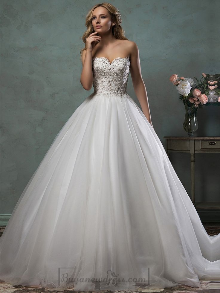 Strapless Scallop Sweetheart Beaded Bodice Ball Gown Wedding Dress