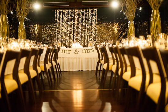 modern yet romantic reception, candlelight and branches
