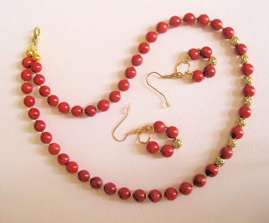 e0d38e36482a Collar en Coral, Juego aretes y collar, Collar para mujer, Bisuteria ...