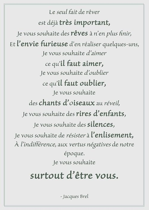 One of my favourie Jacques Brel's poem