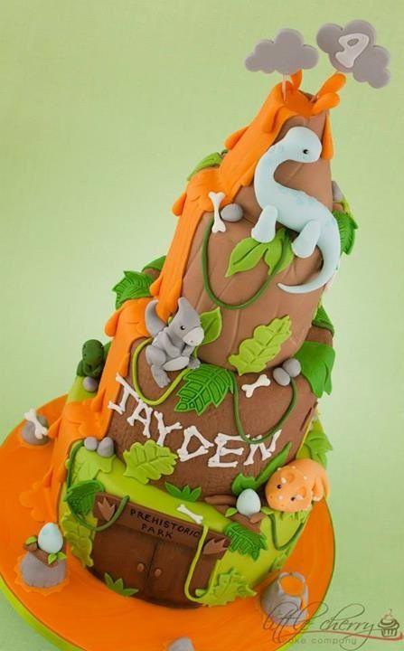 Cute Cartoon Dinosaur Volcano Cake