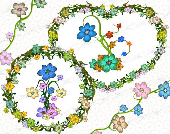 instant download 300dpi png frame clipart digi floral wreath hearts kit party green leafs orange yellow pink laurel swirls borders garland