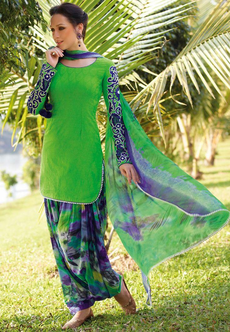Green Cotton Jacquard Patiala Kameez Online Shopping: KWY721