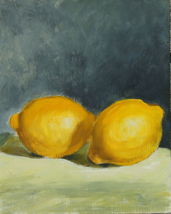 RESERVED LISTING Lemon Still Life Painting, Oil on wood panel, 8x10 inches, Contemporary Fine Art