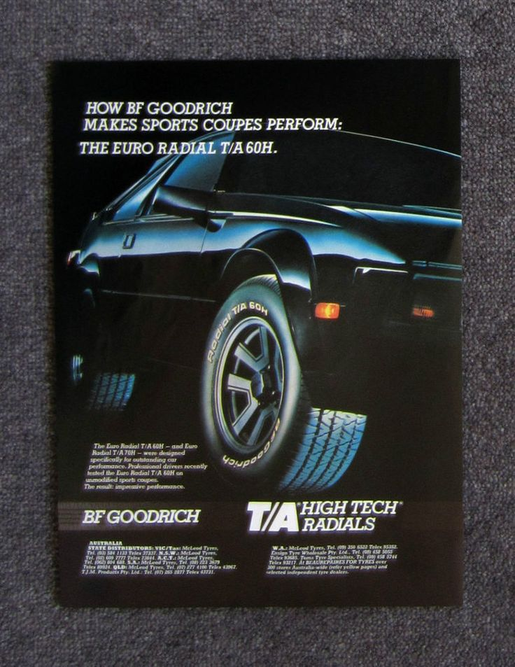 BF GOODRICH TYRES - 1986 Auto Car Magazine Page Sales Ad Advertisement Brochure