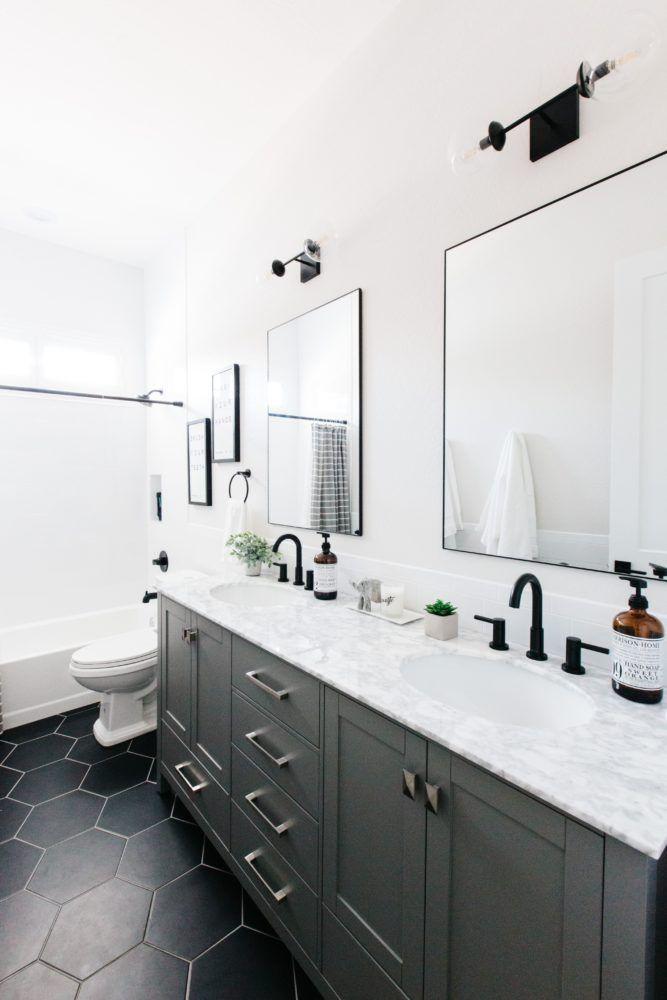 Modern Hexagon Tile Floor Decor Black Bathroom Mirrors Black Bathroom Floor Black Faucet