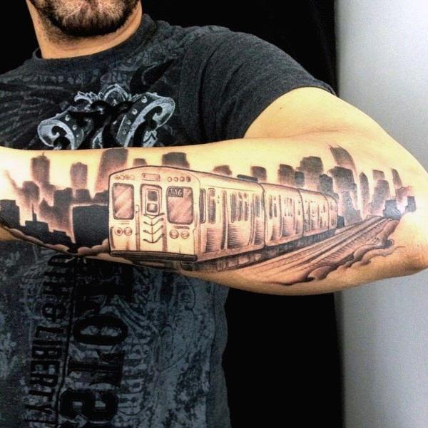 house tatoo   Skyline De Chicago Diseños De Tatuajes Para Hombres la estación de tren de chicago skyline de ...