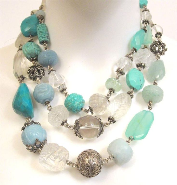 STEPHEN DWECK TRIPLE STRAND CARVED MIXED STONE & PEARL STERLING SILVER NECKLACE #STEPHENDWECK #STATEMENT~<3