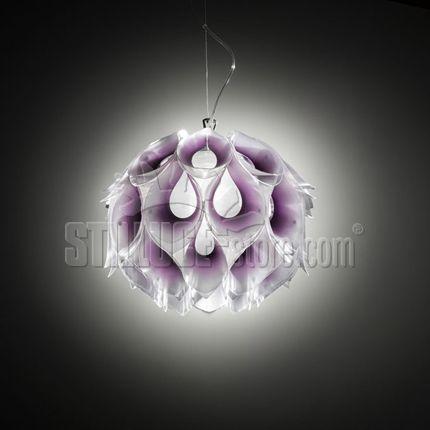 Slamp Flora Large lampada sospensione in lentiflex e metacrylathe. Disponibile nei colori: bianco, porpora, giallo e blu.