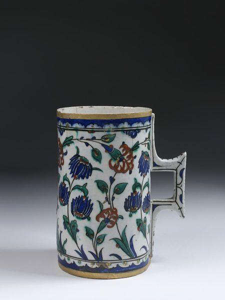Tankard | Made in Iznik, Turkey, ca. 1560-1590 | Materials: fritware, polychrome underglaze painted, glazed | VA Museum, London