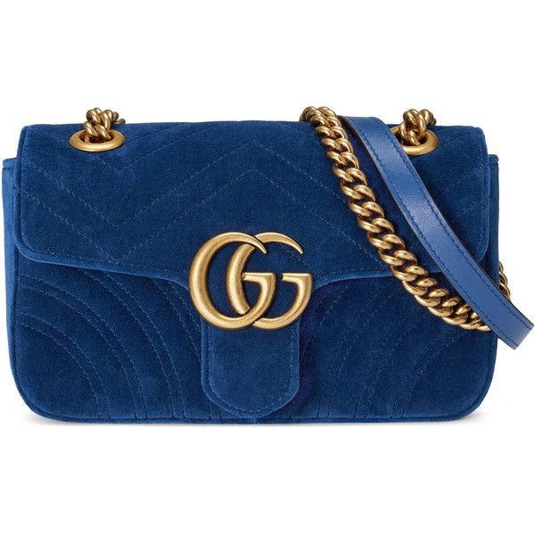 Gucci Gg Marmont Velvet Mini Bag ($1,140) ❤ liked on Polyvore featuring bags, handbags, shoulder bags, cobalt blue, women, hand bags, gucci purse, gucci shoulder bag, mini handbags and purse shoulder bag