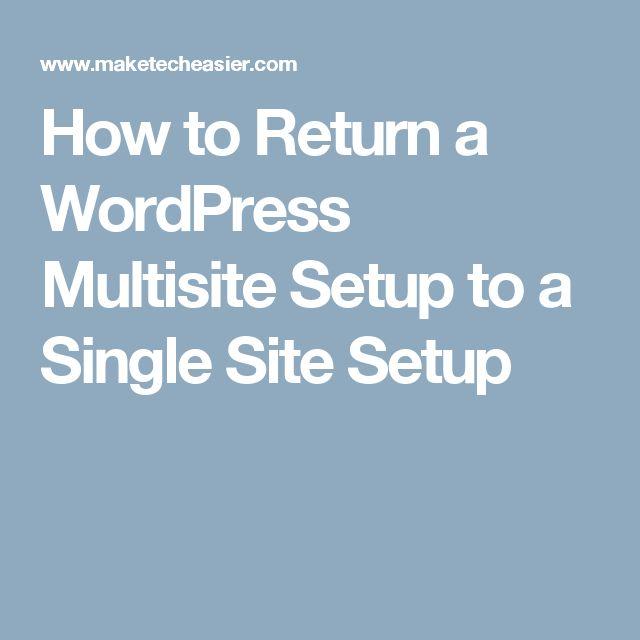 How to Return a WordPress Multisite Setup to a Single Site Setup