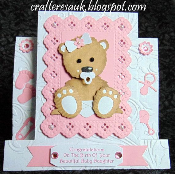 3D NEW BABY BEAR Birth Card, Handmade Personalised Baby Girl or Boy, Centre Step Card, Grandparents ,New Baby,  Adoption, Naming,