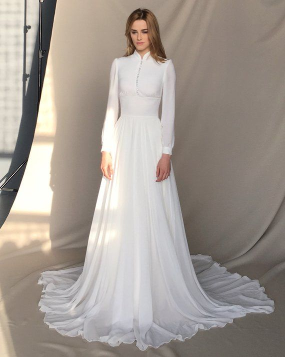 Long sleeve wedding dress – Light ivory chiffon bridal gown – APOLLO Style: A-l…