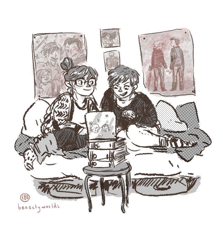 Sister writing times, with Cath and Wren from Fangirl. I haven't had as much time to draw lately, so this was really fun to do (also fun: screentones)!